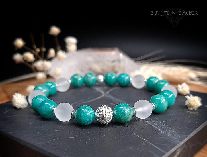 Amazonit und Bergkristall Armband
