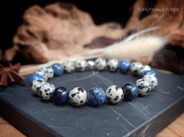 Dumortierit und Dalmatiner Stein Armband