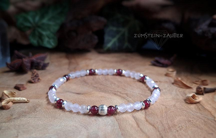 Rosenquarz und Granat Armband
