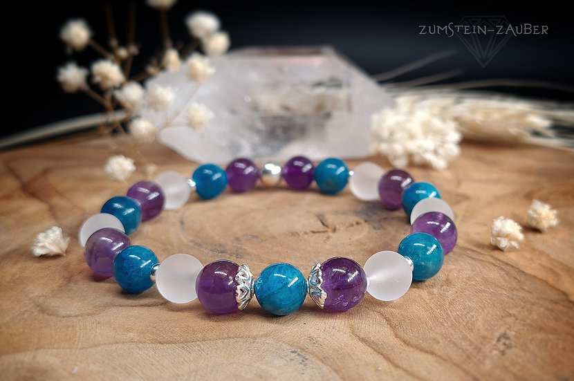 Apatit, Amethyst und Bergkristall Armband