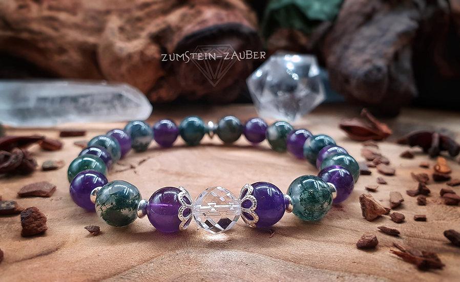 Amethyst, Moosachat und Bergkristall Armband