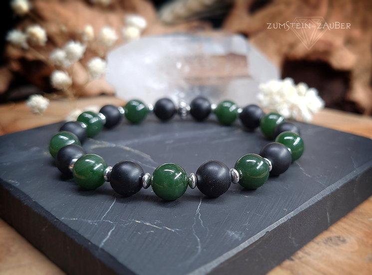 Turmalin und Kanada Jade Armband