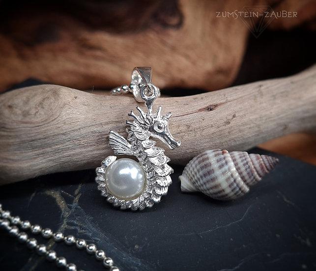 Seepferdchen mit Perle Anhänger