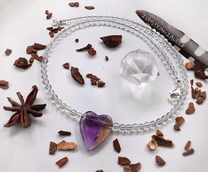 Ametrin und Bergkristall Halskette