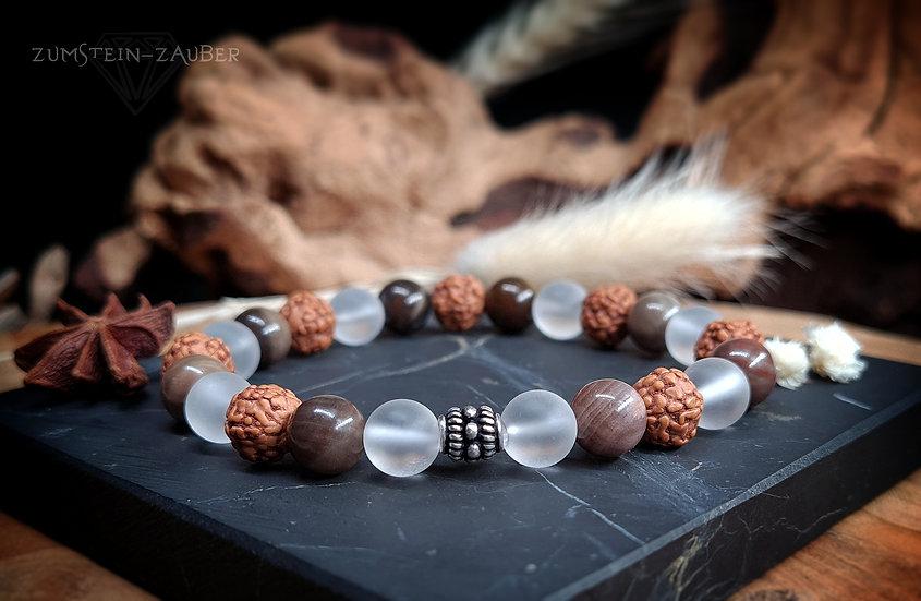 Versteinertes Holz, Bergkristall und Rudraksha Armband