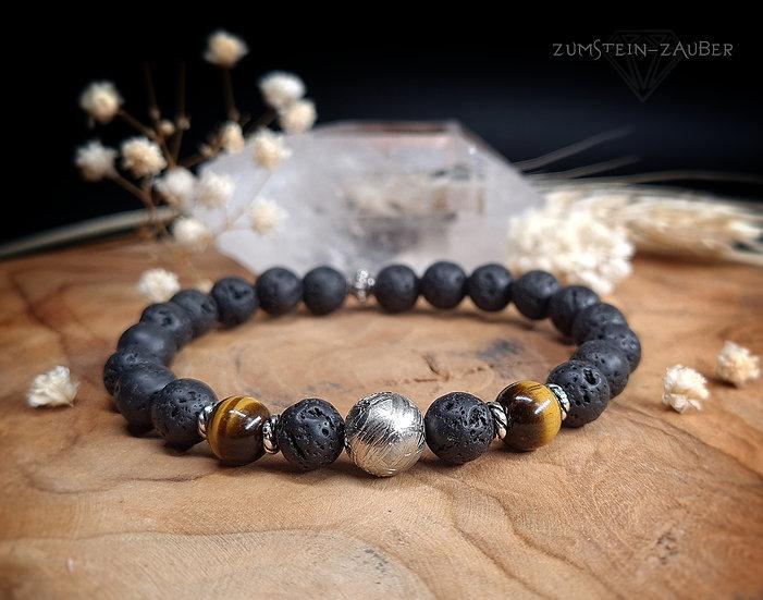 Lava, Tigerauge und Meteorit Armband