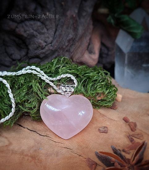 Rosenquarz Herz Anhänger