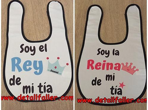 Babero Rey/reina de mi + texto