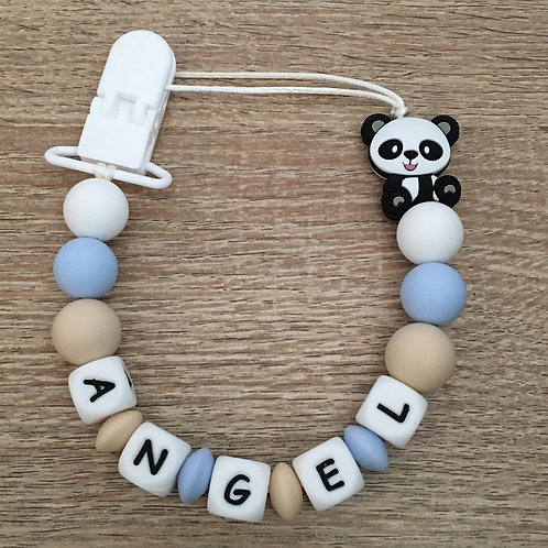 Chupetero Oso Panda Azul