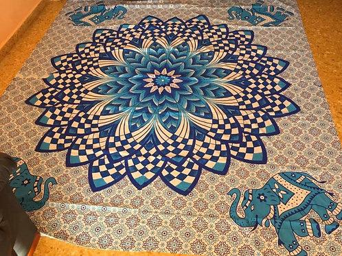 Tela Mandala Azul Elefantes