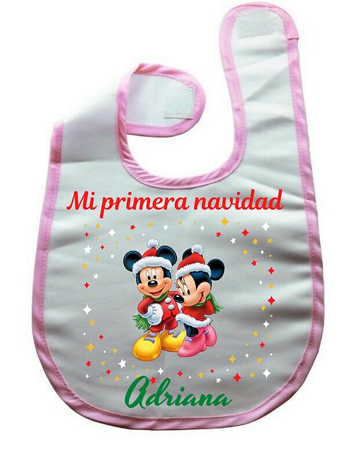 Babero Mickey, minnie + nombre