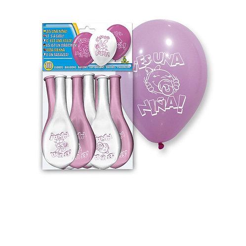 Set 10 globos 'es una niña'