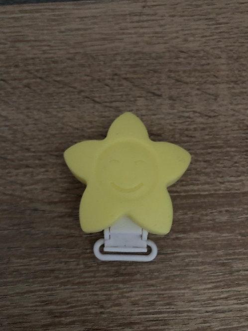 Pinza Estrella de silicona amarilla