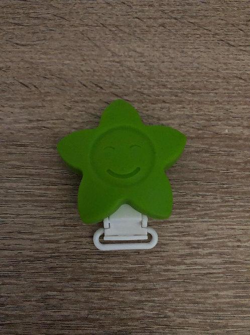 Pinza Estrella de silicona verde