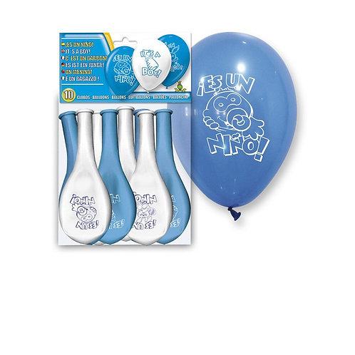 Set 10 globos 'es un niño'