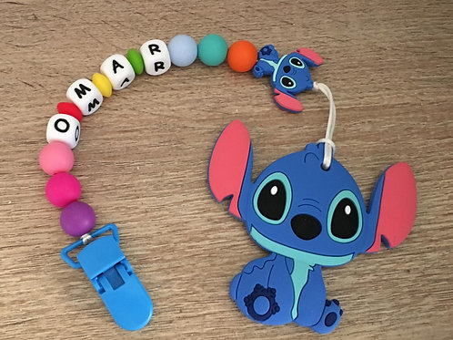 Chupetero Stitch + mordedor azul