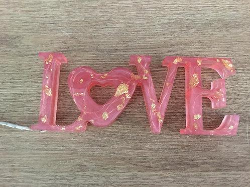 Love Resina Rosa y Dorado