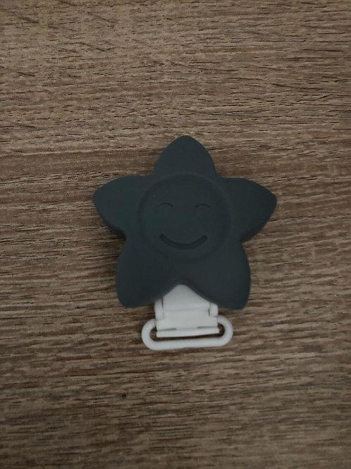 Pinza Estrella de silicona gris
