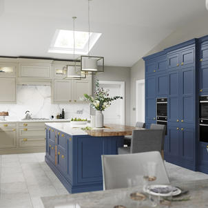 Belgravia- Painted parisian blue & stone