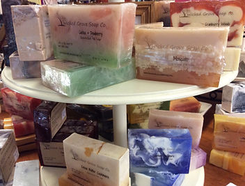 Variety of soaps, lotions and body scrubs