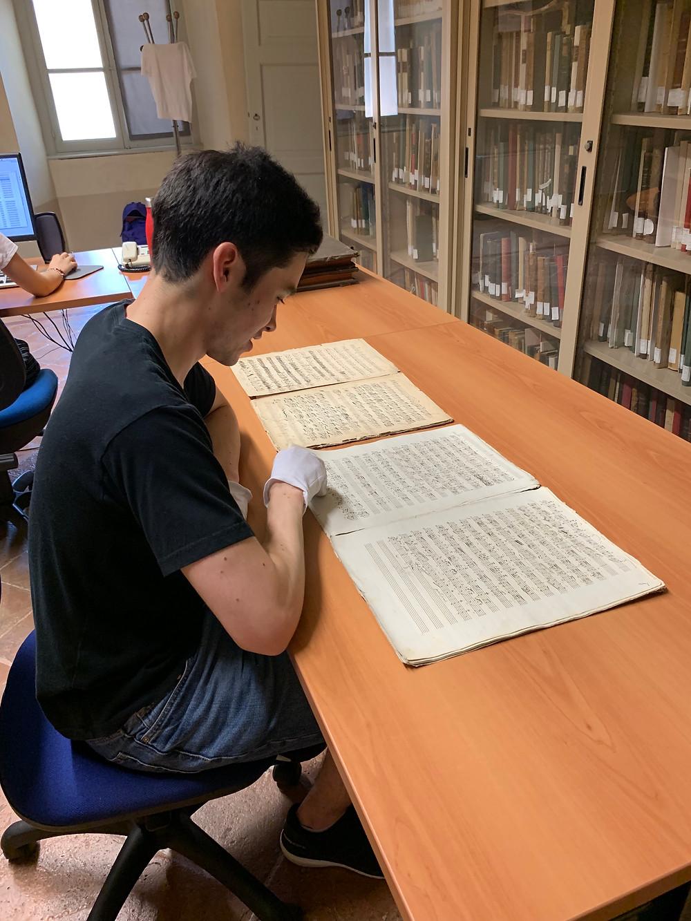 studying the autograph manuscripts of the Piatti Caprices in Bergamo, Italy