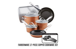 Farberware 17-piece copper cookware set.