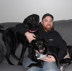 Jacob (Accounting) with his dogs, Willow and Lady