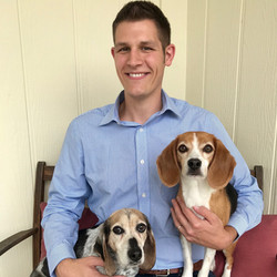 Jared (Market Development) with dogs, Paisley and Porsche