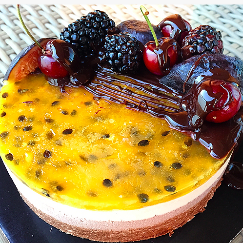 Passion fruit raw vegan cake