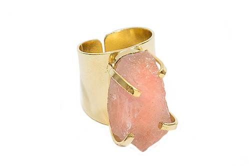 Rose Quartz | Cuff Ring