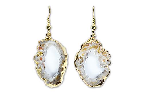 Geode Slice | Electroplated Hook Earrings