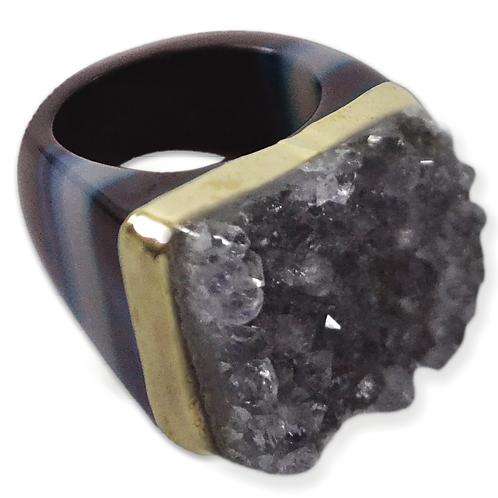 Amethyst Ring | Crown Plated Cluster Rings