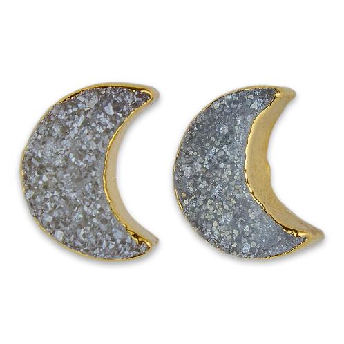 Moon Druzy   Shaped Druzy Stud Earrings