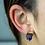 Thumbnail: Squere   Amethyst Slice Stud Earrings