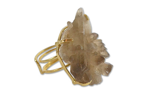 Smoky Crystal | Wire Ring