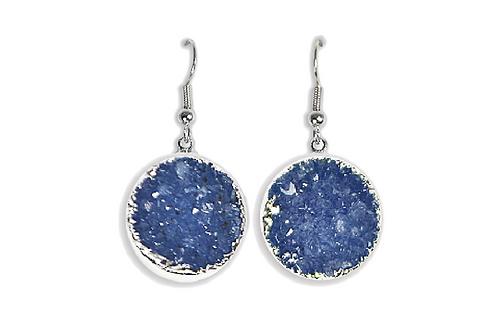 Agate Druzy | Electroplated Hook Earrings