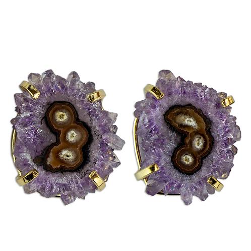 Amethyst   Fancy Claw Studs Earrings