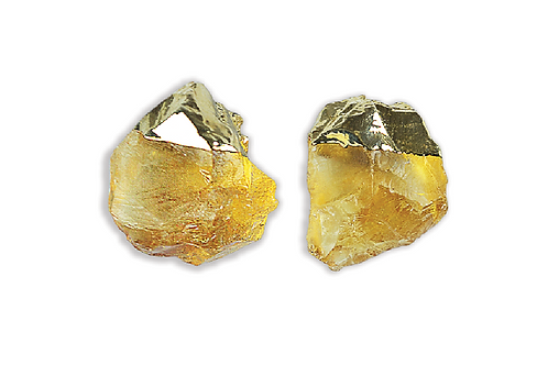 Citrine Gem | Electroplated Stud Earrings
