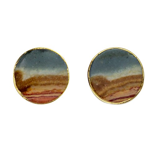 Mokaite | Shaped Stone Stud Earrings