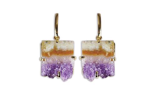 Amethyst Slice   Fancy Dropper Earrings