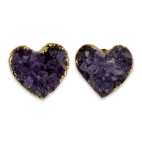 Heart   Amethyst Druzy Stud Earrings