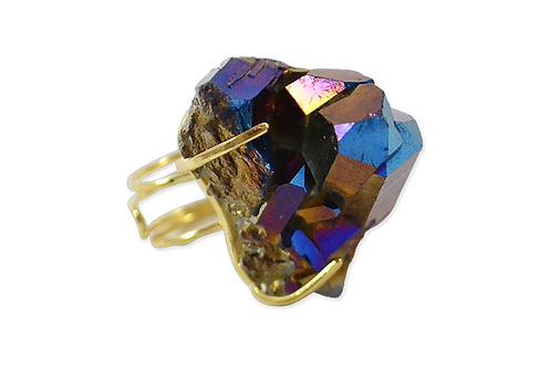 Coated Crystal | Wire Ring