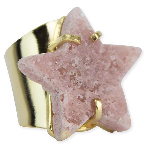 Pink Amethyst (Star)   Cuff Ring