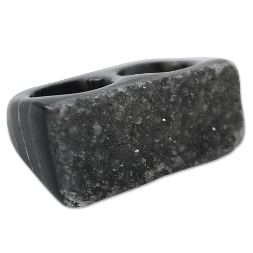 Dyed Druzy Ring (Black)   Double Druzy Rings