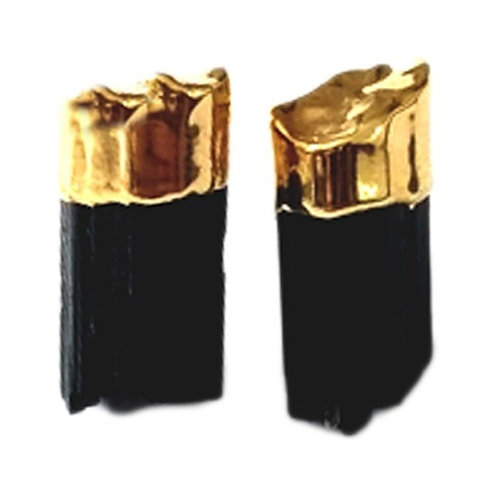 Black Tourmaline | Electroplated Studs