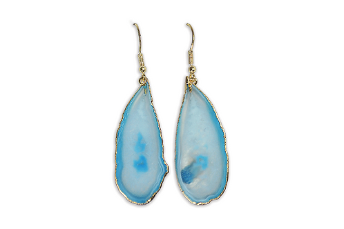 Agate Slice | Electroplated Hook Earrings
