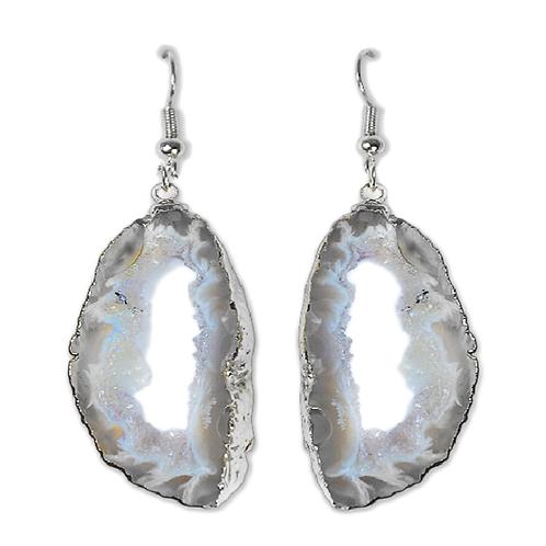 Geode Slice   Hook Earrings