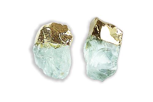 Aquamarine Gem | Electroplated Stud Earrings