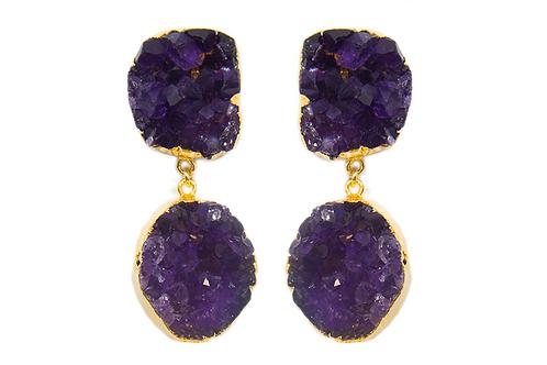 Amethyst Cluster | Double Dropper Earrings