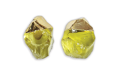 Green Gold Gem | Electroplated Stud Earrings